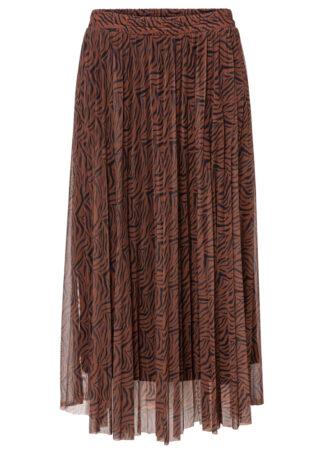 Spódnica tiulowa bonprix brązowy kasztanowy - czarny w paski zebry