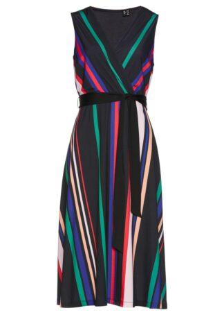 Sukienka shirtowa bonprix w kolorowe paski