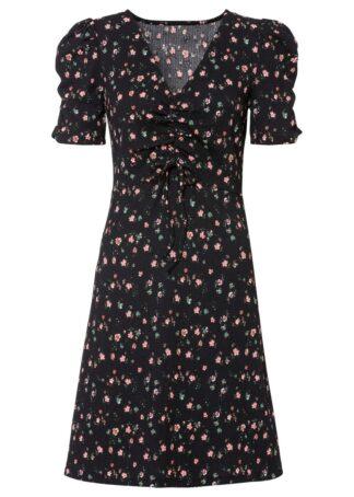 Sukienka z dżerseju bonprix czarny w kwiaty