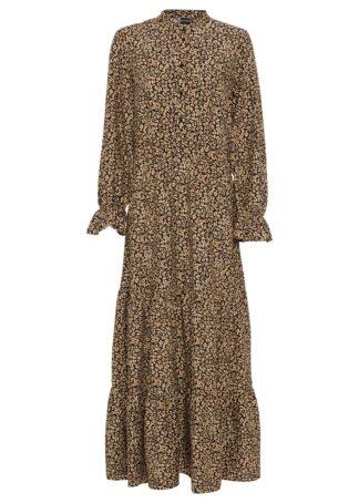 Długa sukienka z nadrukiem bonprix czarno-beżowo-ceglastobrązowy leo
