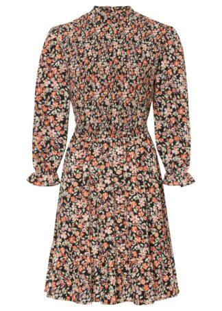 Sukienka z nadrukiem z poliestru z recyklingu bonprix jasnobrązowy w kwiaty
