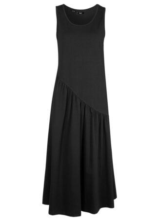 Sukienka shirtowa z asymetrycznymi falbanami bonprix czarny