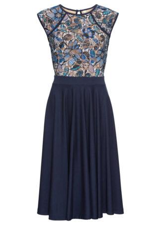 Sukienka koronkowa midi z koronkową wstawką bonprix ciemnoniebieski w kwiaty