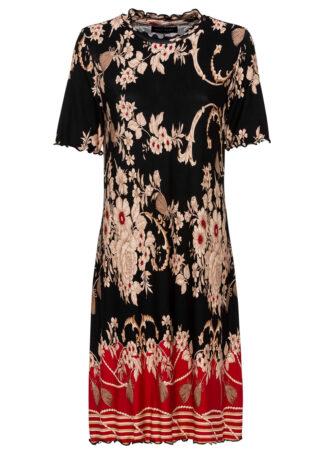 Sukienka z dżerseju z nadrukiem bonprix czarny z nadrukiem
