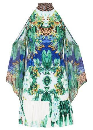 Sukienka cold-shoulder bonprix niebiesko-biało-zielony z nadrukiem