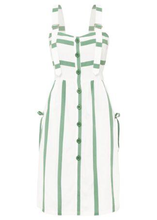 Sukienka midi w paski bonprix zielono-biały w paski