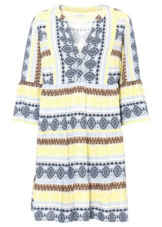 Sukienka tunikowa z przyjaznej dla środowiska wiskozy bonprix pudrowy niebieski - żółty ananas - biel wełny z nadrukiem