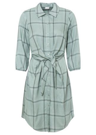 Sukienka szmizjerka z przewiązaniem bonprix dymny zielony w kratę