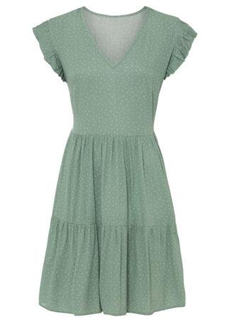 Sukienka z częścią spódnicową z falban bonprix jasnozielony w groszki
