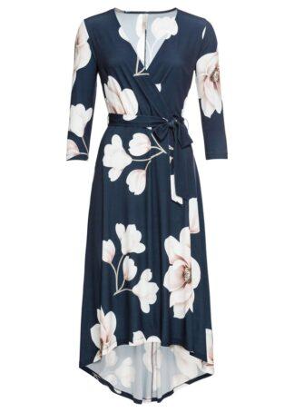 Długa sukienka z dłuższym tyłem i wiązanym paskiem bonprix ciemnoniebiesko-jasnoróżowo-biały w kwiaty