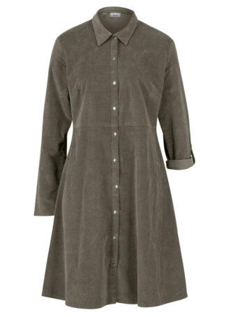 Sukienka sztruksowa ze stretchem bonprix ciemnooliwkowy