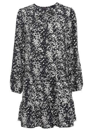 Sukienka tunikowa bonprix czarno-biel wełny w kwiaty