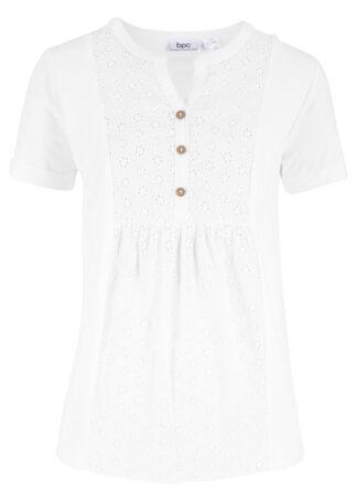 Bluzka shirtowa z haftem angielskim bonprix biały