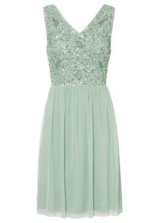Sukienka z aplikacją z perełek bonprix kryształowy miętowy