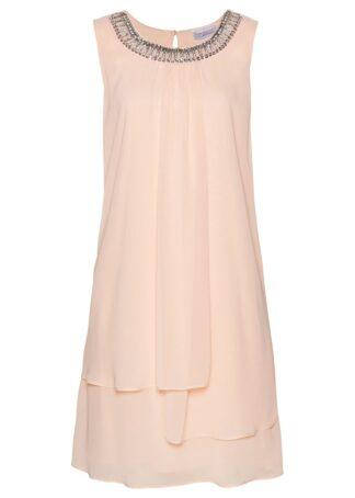 Sukienka Premium z aplikacją bonprix perłowy beżowy