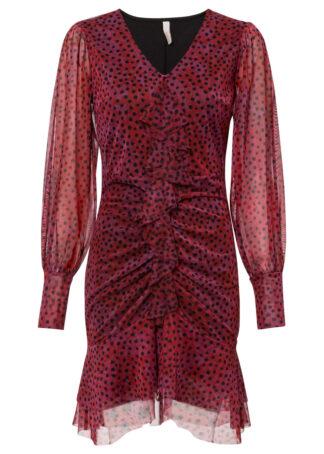 Sukienka w kropki bonprix ciemnoczerwony w kropki
