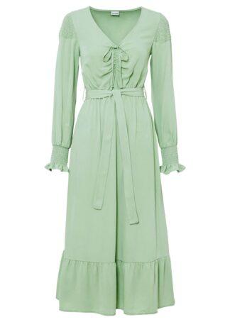 Sukienka koszulowa z wiązanym paskiem bonprix kremowy zielony