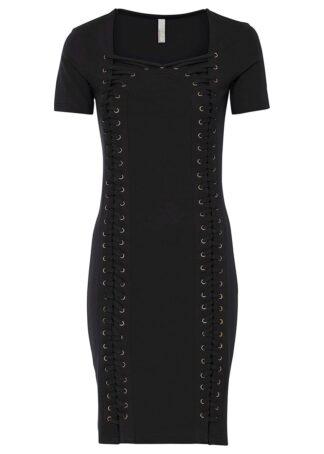 Sukienka ze sznurowaniem bonprix czarny