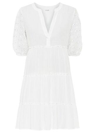 Sukienka z koronką bonprix biel wełny
