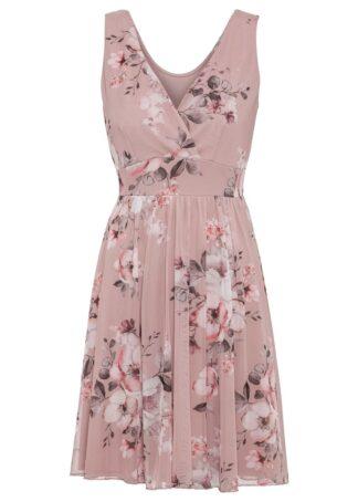 Sukienka z siatkowego materiału z nadrukiem bonprix jasnoróżowy w kwiaty