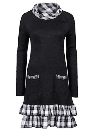 Sukienka dzianinowa w połączeniu różnych materiałów bonprix czarny w kratę