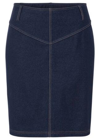 """Spódnica z dżerseju w optyce dżinsu bonprix niebieski """"stone"""""""