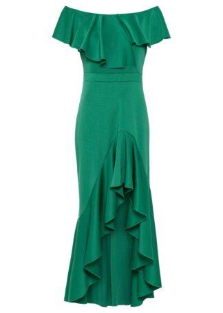Sukienka z dłuższym tyłem i falbaną bonprix zielony