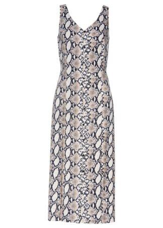 Sukienka midi z wiskozy bonprix we wzór skóry węża