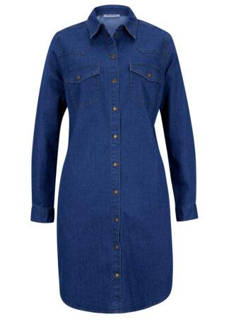 """Sukienka dżinsowa z bawełny organicznej bonprix niebieski """"stone"""""""