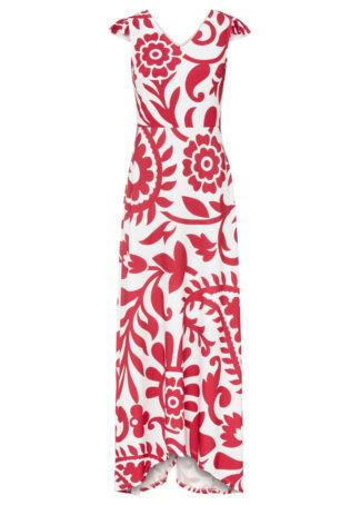 Sukienka z nadrukiem bonprix czerwono-biały w roślinny wzór