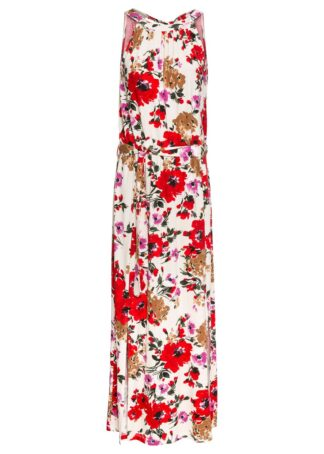 Długa sukienka w kwiaty bonprix kremowo-czerwony w kwiaty