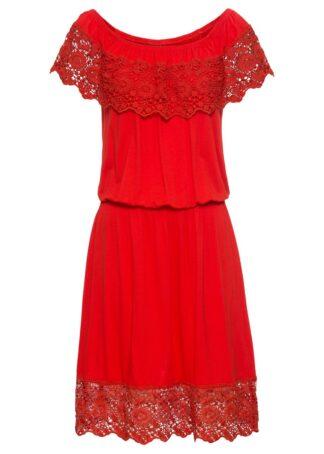 """Sukienka shirtowa z dekoltem """"carmen"""" bonprix czerwony sygnałowy"""