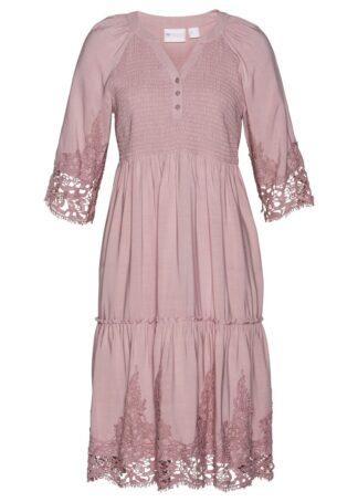 Sukienka szmizjerka z wiskozy z koronką bonprix różowobrązowy