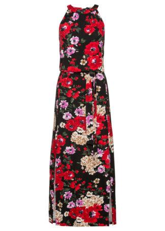 Długa sukienka w kwiaty bonprix czarny w kwiaty