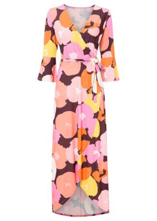 Sukienka kopertowa bonprix różowo-czerwono-pomarańczowo-czarny w kwiaty