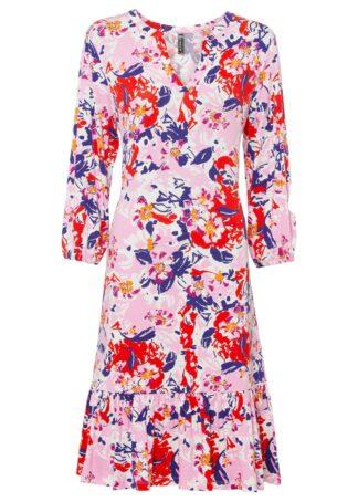 Sukienka bonprix biało-czerwono-jasnoróżowo-niebieski z nadrukiem