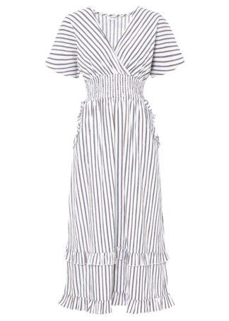 Długa sukienka bonprix biel wełny w paski