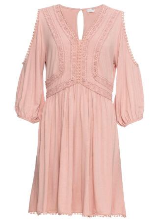 Sukienka z dżerseju z wycięciami i koronką bonprix stary jasnoróżowy
