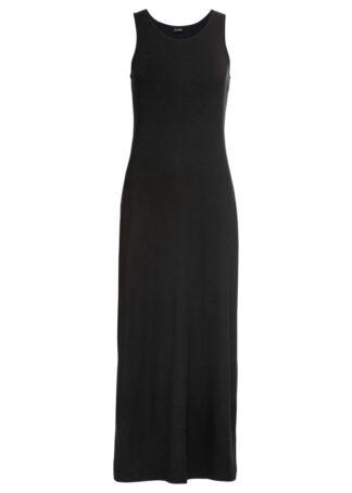 Długa sukienka z dżerseju bonprix czarny