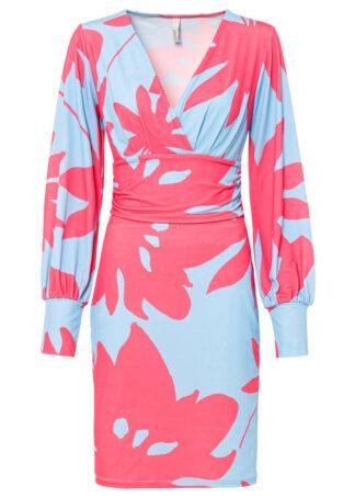 Sukienka z nadrukiem bonprix jasnoniebiesko-różowy