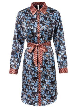 Sukienka z paskiem bonprix ciemnoniebiesko-jasnoniebiesko-jasnoczerwony w kwiaty