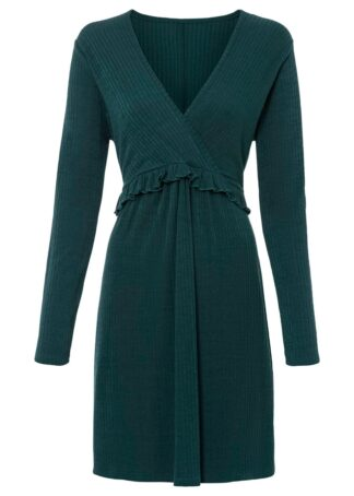 Sukienka w prążek bonprix ciemnozielony