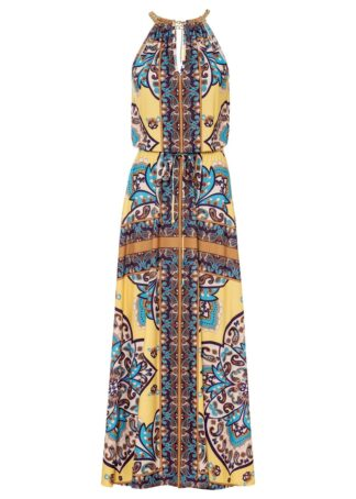 Długa sukienka bonprix żółto-niebieski paisley