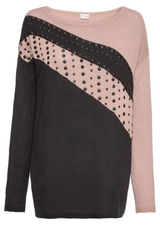 Sweter oversize z aplikacją bonprix czarno-różowy