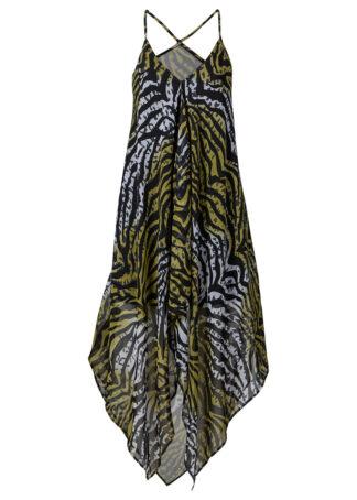 Sukienka plażowa bonprix zielono-oliwkowy zebra